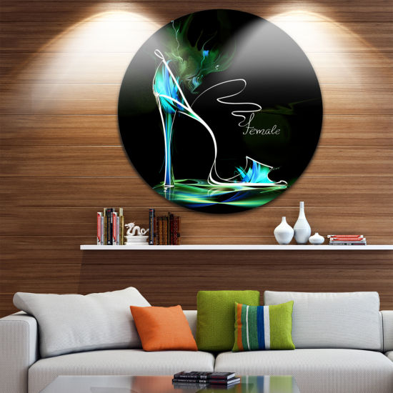 Design Art Green High Heel Show Disc Abstract Circle Metal Wall Art