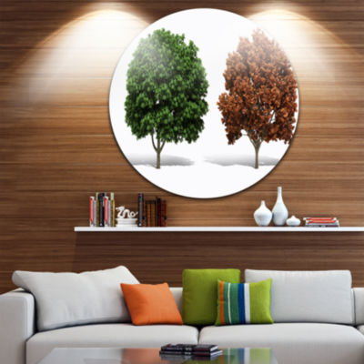 Design Art Green and Red 3D Fractal Trees AbstractRound Circle Metal Wall Decor Panel
