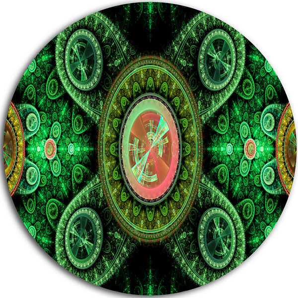 Design Art Green Psychedelic Relaxing Art AbstractRound Circle Metal Wall Decor