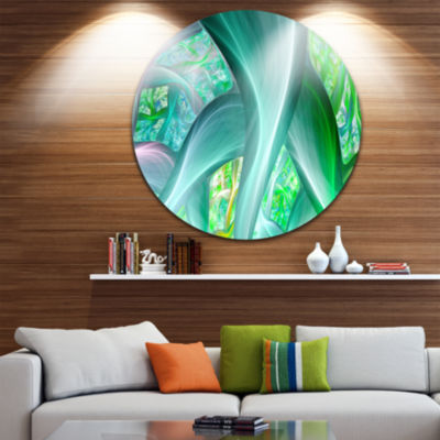 Design Art Green Fractal Exotic Plant Stems Abstract Round Circle Metal Wall Art Panel