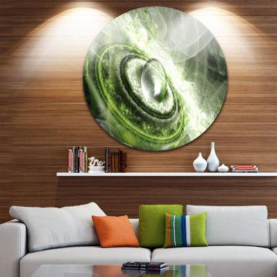 Design Art Green Fractal Flying Saucer Abstract Round Circle Metal Wall Decor