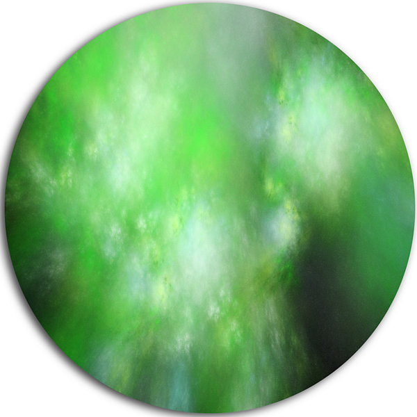 Design Art Green Blur Sky with Stars Abstract Round Circle Metal Wall Decor