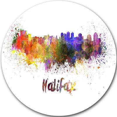 Design Art Halifax Skyline Disc Cityscape Metal Artwork Print