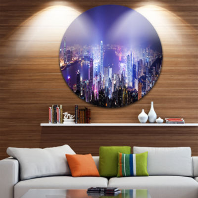 Design Art Hong Kong Night City Disc Cityscape Photo Circle Metal Wall Art