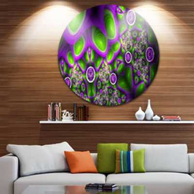 Design Art Green Purple Exotic Pattern Abstract Round Circle Metal Wall Art Panel