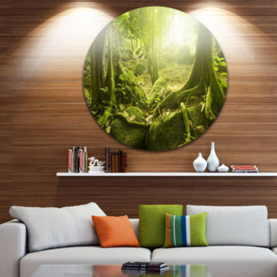 Design Art Green Forest with Sun Disc Landscape Photography Circle Metal Wall Art