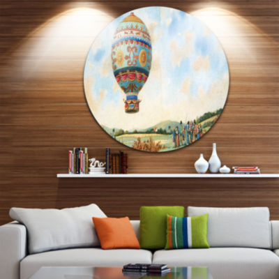 Design Art Hot Air Balloon Illustration Disc LargeContemporary Circle Metal Wall Arts