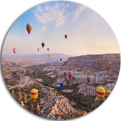 Design Art Hot Air Balloon Flying Disc PhotographyCircle Metal Wall Art