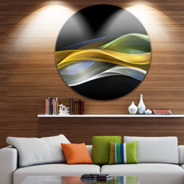 Design Art Gold Silver Straight Yellow Lines LargeAbstract Circle Metal Wall Art