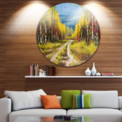 Design Art Golden Autumn Disc Landscape Circle Metal Wall Art