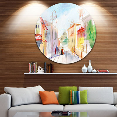 Design Art Illustrated Parisian Street Disc Watercolor Cityscape Circle Metal Wall Art