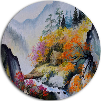 Design Art House in the Mountains Landscape CircleMetal Wall Art