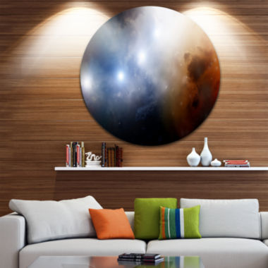 Design Art Glowing Sky Spacescape Circle Metal Wall Art