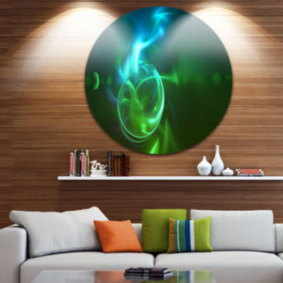 Design Art Glowing Green Circles Disc Abstract Circle Metal Wall Art