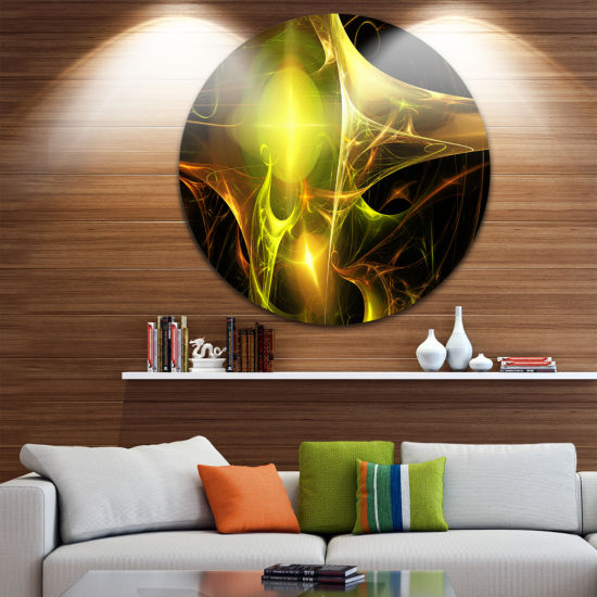 Design Art Golden Bright Candle Abstract Circle Metal Wall Art