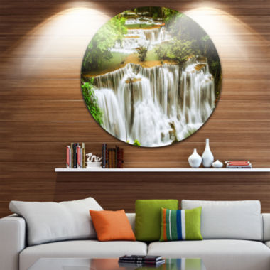 Design Art Green Huymea Kamin Waterfall Disc Photography Circle Metal Wall Art