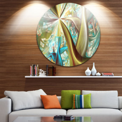 Design Art Golden Fractal Exotic Plant Stems Abstract Round Circle Metal Wall Art