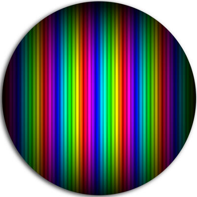 Design Art Glowing Rainbow Lines Abstract Circle Metal Wall Art
