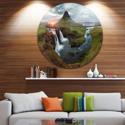 Design Art Iceland Landscape Spring Disc PanoramaCircle Metal Wall Art