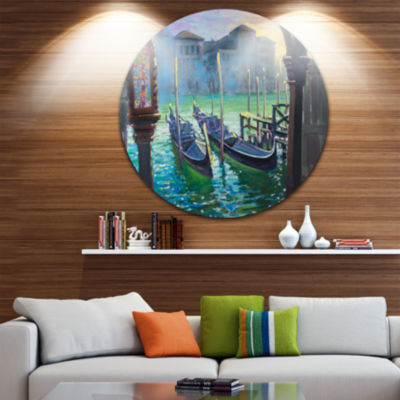 Design Art Gondolas in Venice Disc Landscape Painting Circle Metal Wall Art