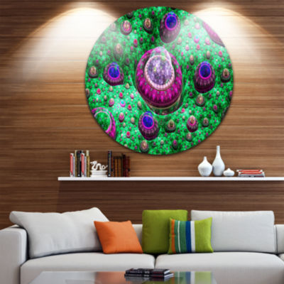Design Art Green Fractal Exotic Planet Abstract Round Circle Metal Wall Decor