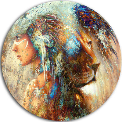 Design Art Indian Woman Collage with Lion Indian Artwork Metal Circle Wall Art
