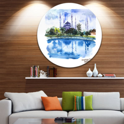 Design Art Istanbul Hand drawn Illustration Disc Cityscape Painting Circle Metal Wall Art