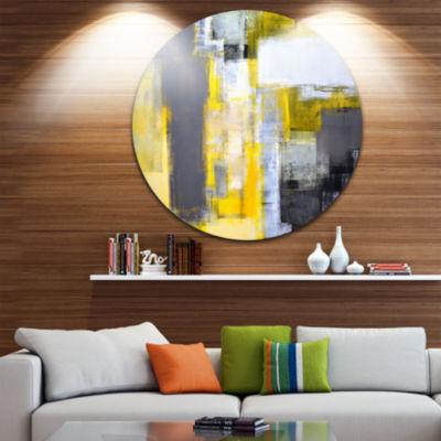 Design Art Grey and Yellow Blur Abstract AbstractCircle Metal Wall Art