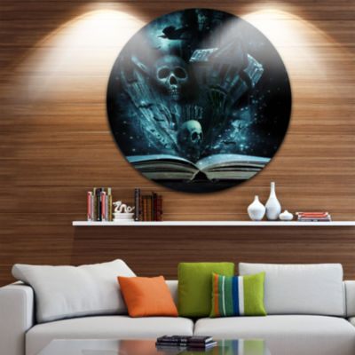 Design Art Halloween Stories Book Disc Contemporary Circle Metal Wall Art