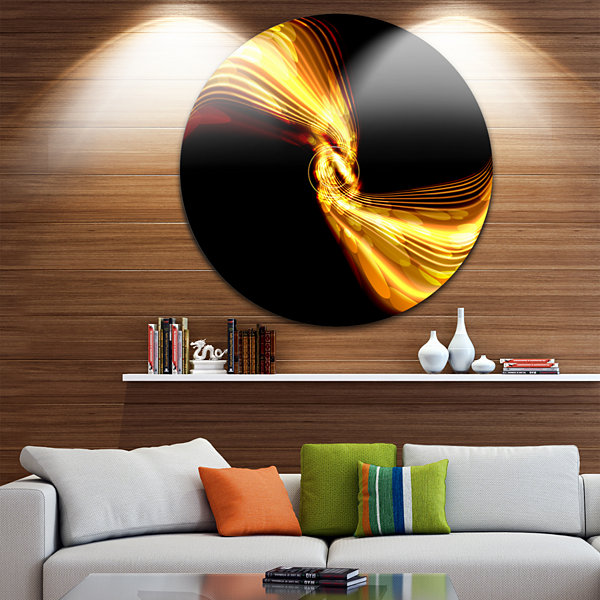 Design Art Glowing Golden Lines and Circles LargeAbstract Circle Metal Wall Art