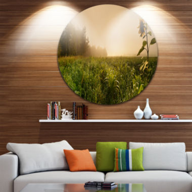 Design Art Green Panoramic Landscape Disc Photography Circle Metal Wall Art