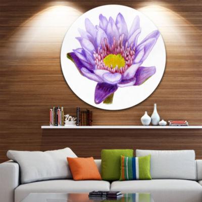 Design Art Hand drawn Purple Lotus Disc Floral Circle Metal Wall Art