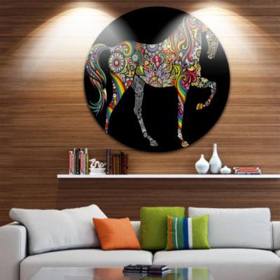 Design Art Horse and Rainbow Disc Animal Circle Metal Wall Art