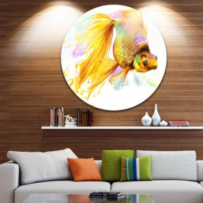Design Art Gold Fish Illustration Disc Animal Circle Metal Wall Art