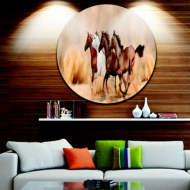 Design Art Herd Gallops in Sand Storm Landscape Photography Circle Metal Wall Art