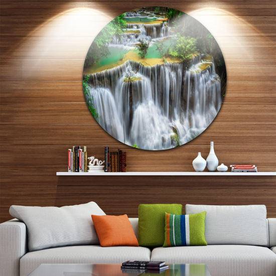 Design Art Huay mae Ka Min Waterfall Photography Circle Metal Wall Art