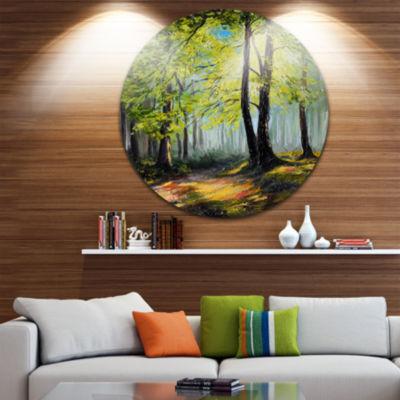 Design Art Green Autumn Forest Landscape Metal Circle Wall Art