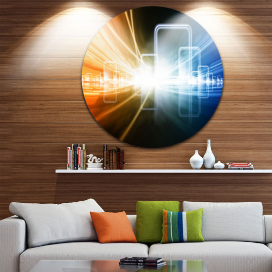 Design Art Glowing Squares and Lines Abstract Circle Metal Wall Art