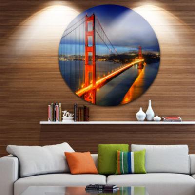 Design Art Golden Gate Bridge Disc Landscape Photography Circle Metal Wall Art