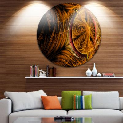 Design Art Golden Fractal Desktop Large Abstract Circle Metal Wall Art