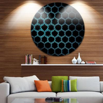 Design Art Honeycomb Fractal Gold Hex Pixel Abstract Art on Round Circle Metal Wall Decor Panel