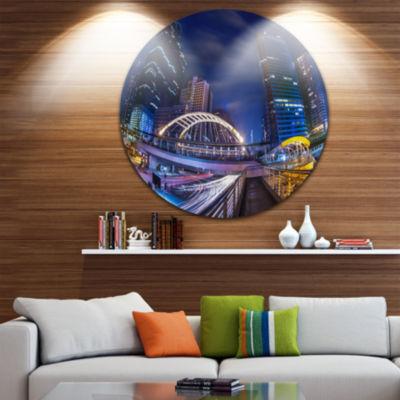 Design Art Bridge Cityscape Disc Photography Circle Metal Wall Art