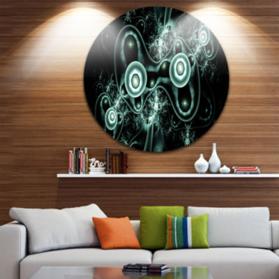 Design Art Blue on Black 3D Surreal Design Abstract Round Circle Metal Wall Decor