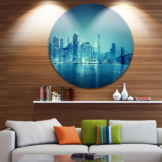 Design Art Blue New York at Night Cityscape Contemporary Circle Metal Wall Art