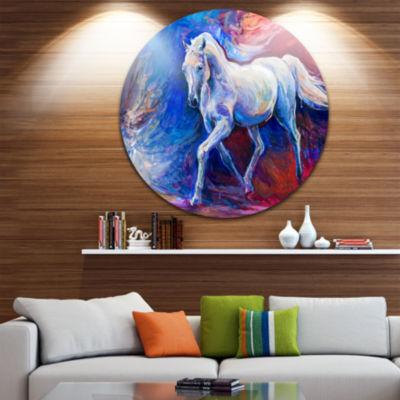 Design Art Blue Horse Animal Circle Metal Wall Art