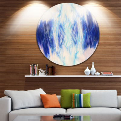 Design Art Blue Collage with Spots Abstract CircleMetal Wall Art