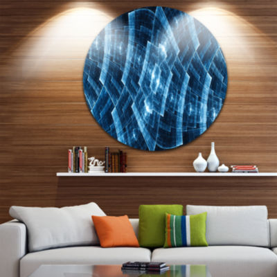 Design Art Blue Protective Round Metal Grids Abstract Round Circle Metal Wall Decor