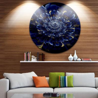 Design Art Blue Fractal Flower Disc Floral CircleMetal Wall Art