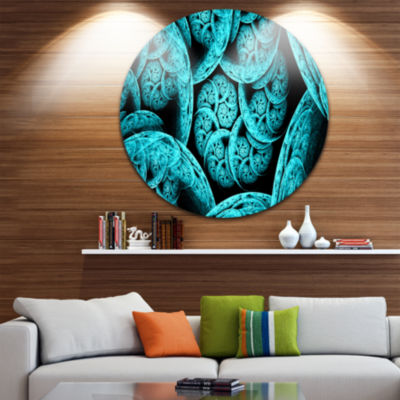 Design Art Blue Dramatic Clouds Abstract Art on Round Circle Metal Wall Decor Panel