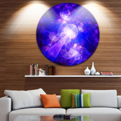 Design Art Bright Blue Fractal Space Theme Abstract Round Circle Metal Wall Decor